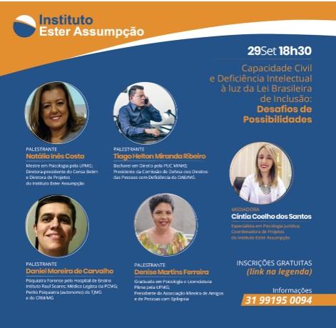 Instituto realiza evento gratuito sobre capacidade civil de pessoas com deficiência intelectual